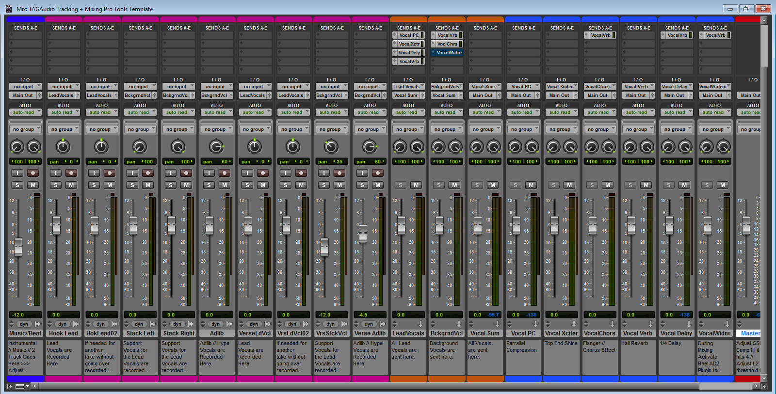 TAGAudio Tracking + Mixing Pro Tools Template (Built with Waves ...