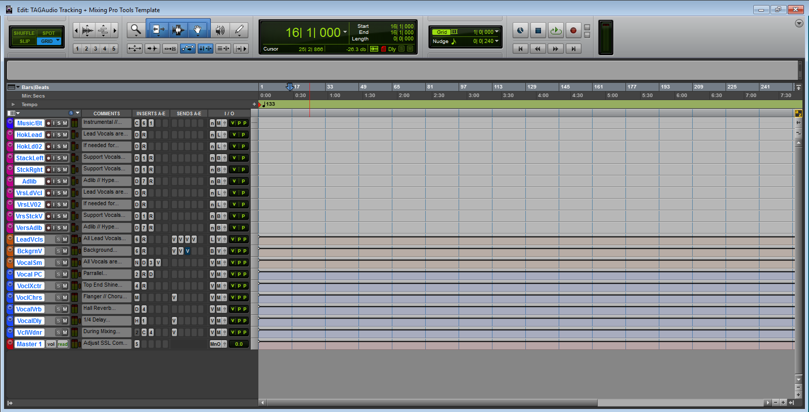 tagaudio tracking mixing pro tools template built with waves